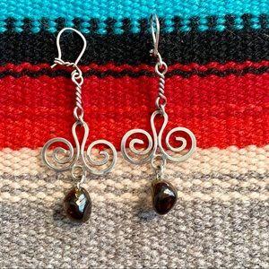 Sterling & Smokey Quartz Chandelier Earrings